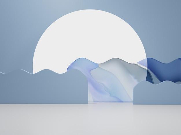 3d-rendering asiatisch chinesisch japanisch oder koreanisch produktanzeige hintergrund morgensonne aquarell