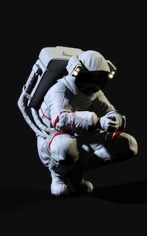3d-rendering-astronaut auf schwarzem hintergrund