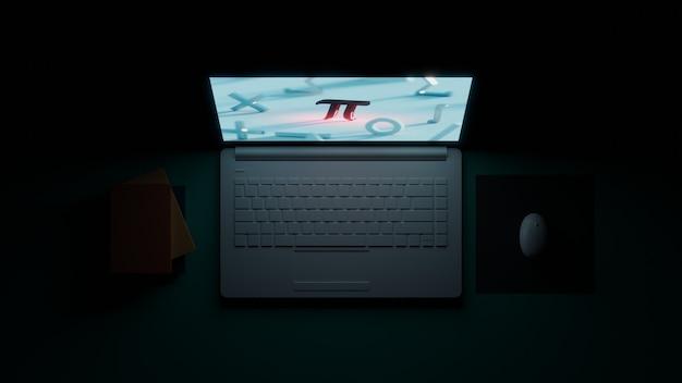 3d-rendering auf dem bildschirm laptop im dunkeln