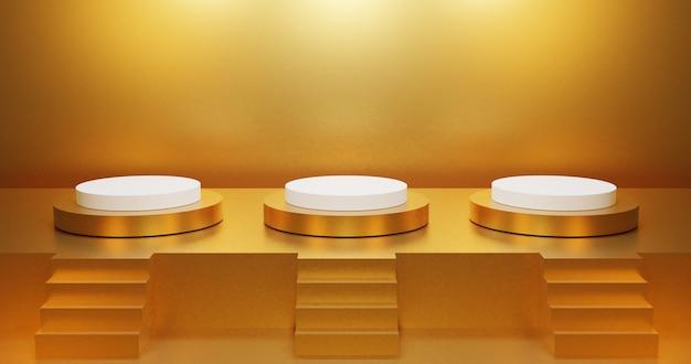 3d-rendering aus gold minimalistisch drei podest podeststufen und bühne, drei treppen dekoration.