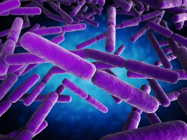 3d-rendering bakterienzellen in stabform