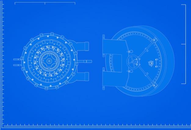 3d-rendering banktresor blaupause mit skala auf blauem hintergrund