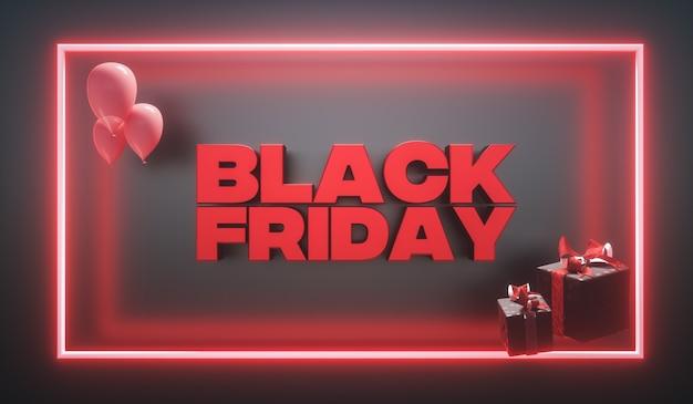 3d-rendering. banner für den black friday sale mit neonlicht und geschenkboxen