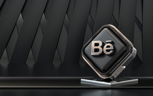 3d-rendering behance symbol social media banner dunklen abstrakten hintergrund