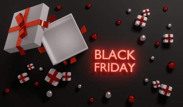 3d-rendering black friday verkauf draufsicht geschenkbox geöffnet mit leerer box im inneren für werbung. 3d-rendering. 3d-darstellung.