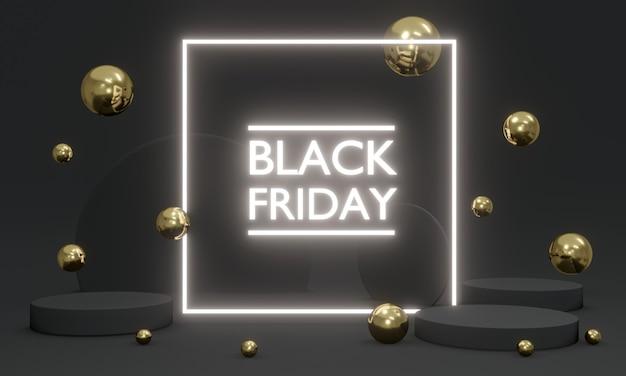 3d-rendering black friday-verkauf mit futuristischem led-licht mit elementen, die auf dem hintergrundkonzept der black friday-werbung herumschwimmen. 3d-rendering. 3d-darstellung.