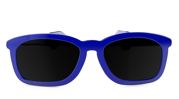 3d-rendering blaue brille auf weißem hintergrund