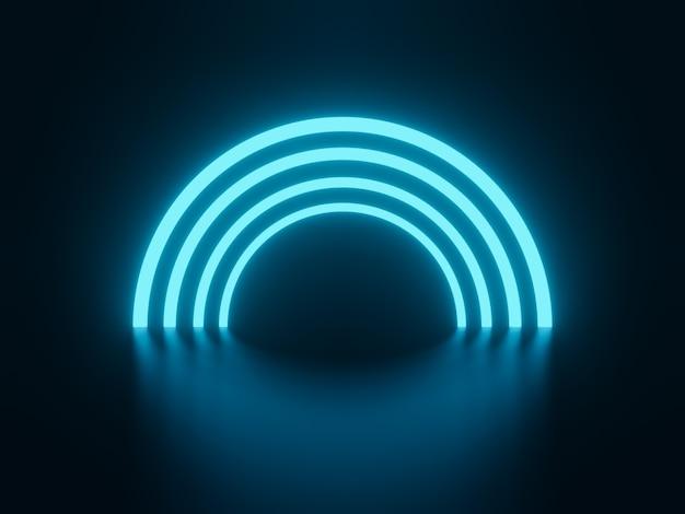 3d-rendering blaue halbkreise neon