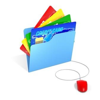 3d-rendering blaue kreditkarte mit ed-warenkorb