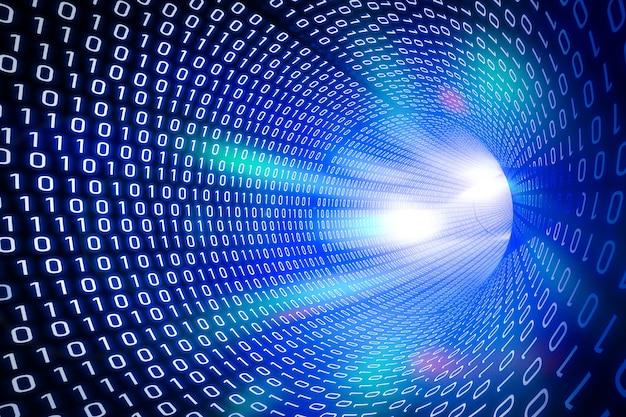 3d-rendering blauer binärer tunnelhintergrund mit leuchtendem licht