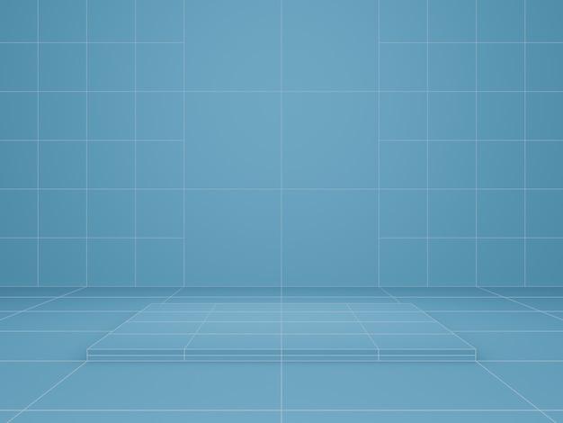 3d-rendering. blauer geometrischer produktständer.
