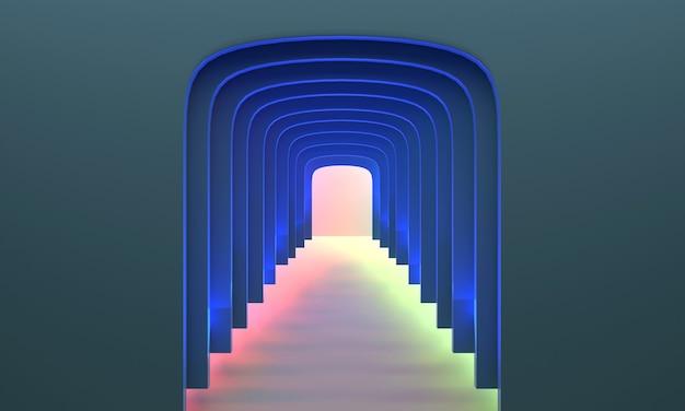 3d-rendering. blauer korridorbogen in 3d-ansicht, moderne futuristische welt.