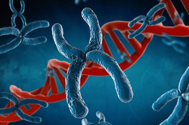 3d-rendering blaues chromosom mit dna-helix auf blauem hintergrund