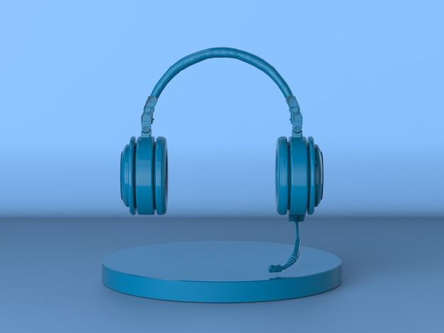 3d-rendering blaues headset oder kopfhörer mit mikrofon auf blauem hintergrund