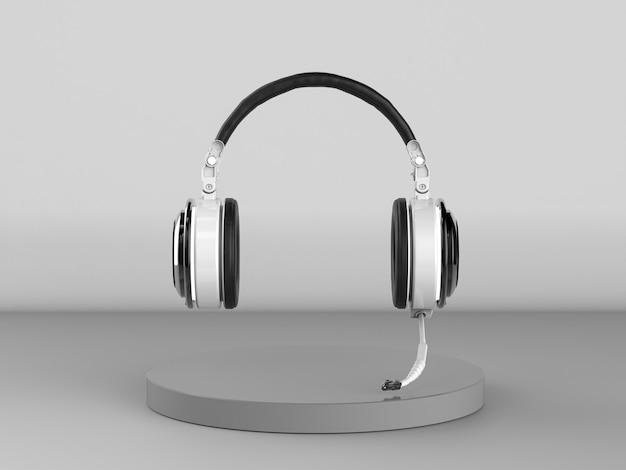 3d-rendering blaues headset oder kopfhörer mit mikrofon auf grauem hintergrund