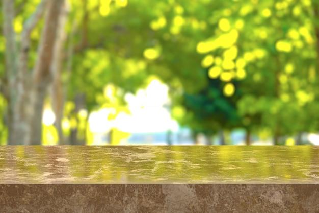 3d-rendering, brauner marmortisch mit blick auf den naturhintergrund. sie können für anzeigeprodukte verwendet werden. oder fügen sie ihren eigenen text in das leerzeichen ein