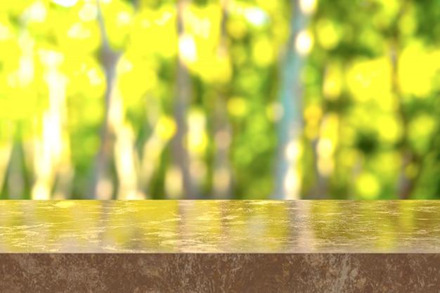 3d-rendering, brauner marmortisch mit blick auf den naturhintergrund. sie können für anzeigeprodukte verwendet werden