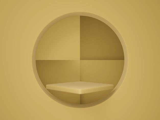 3d-rendering. braunes produktregal.