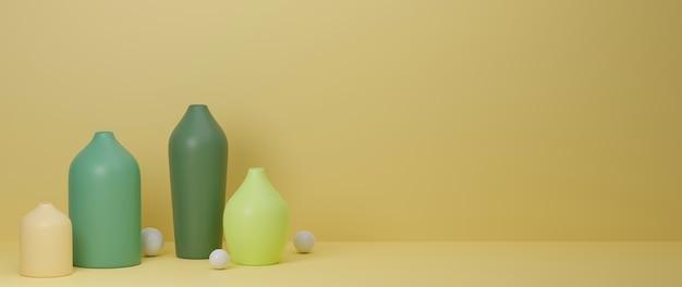 3d-rendering, bunte minimale keramikvasen und topf auf gelbem hintergrund mit kopienraum, 3d-illustration, hauptdekoration