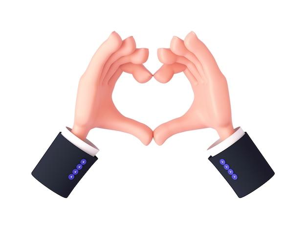 3d-rendering, cartoon-hände mit ärmeln, die mit nicht geballten fingern eine herzgeste machen oder liebe zeigen