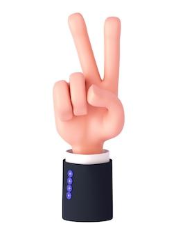 3d-rendering, cartoon-hand mit ärmel zeigt zwei finger oder friedenszeichen. fingerzählgeste