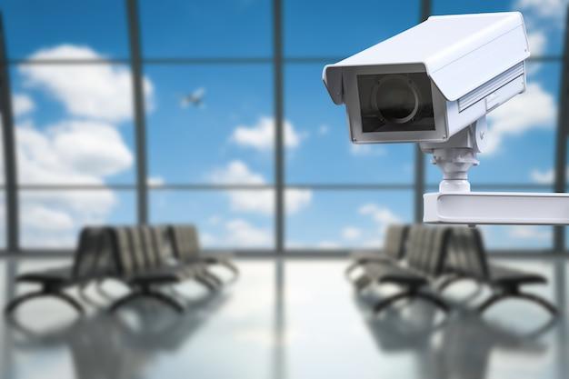 3d-rendering-cctv-kamera oder überwachungskamera im flughafenterminal