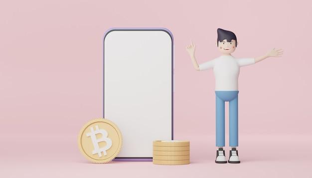 3d-rendering-charakter von gelegenheitsmännern geschäftsmann, der mit bitcoin und telefon steht