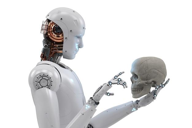 3d-rendering-cyborg, der auf den menschlichen schädel starrt