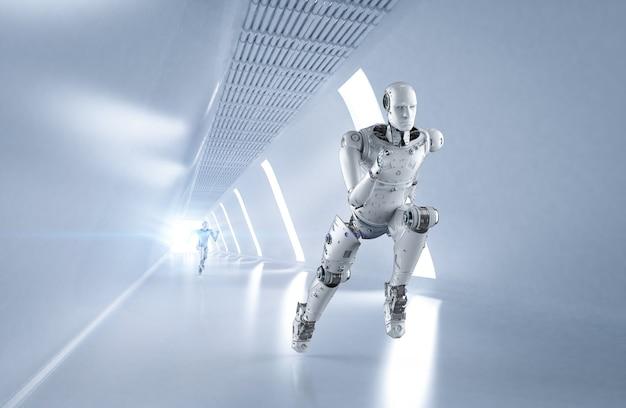 3d-rendering-cyborg, der im wettbewerb mit hoher geschwindigkeit läuft