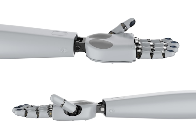 3d-rendering cyborg-hand oder roboterhand isoliert auf weiß