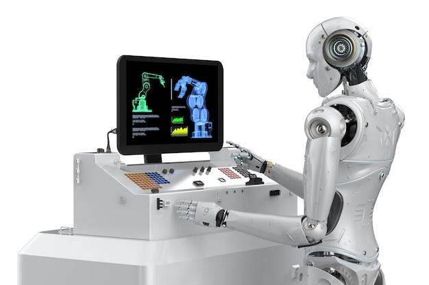 3d-rendering cyborg mit bedienfeld isoliert auf weiß arbeiten