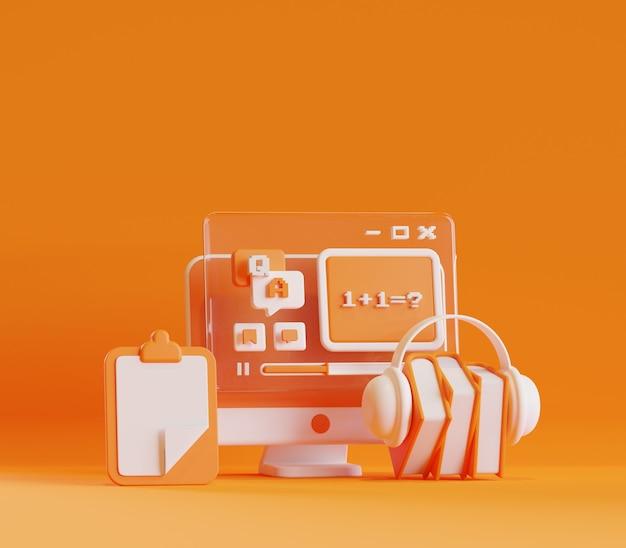 3d-rendering-darstellung von desktop-online-lernaktivitäten-wissensvideospielen