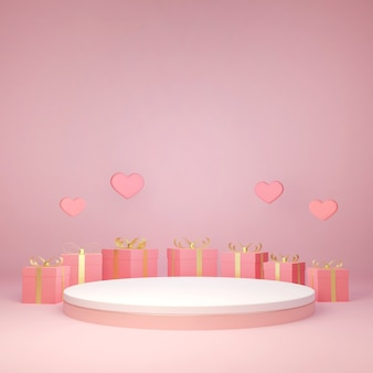 3d-rendering dekorative geschenkbox um produktstand, liebe und valentinstag feiern,