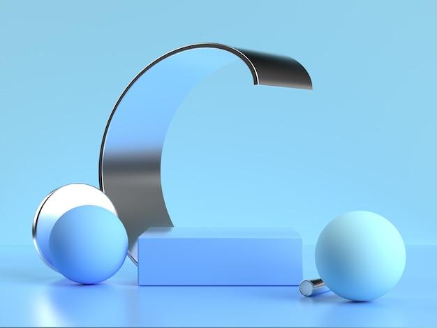 3d-rendering der abstrakten blauen szene der geometrischen formkurvenkugel