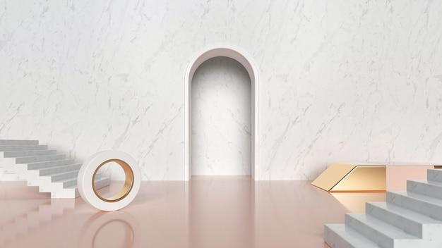 3d-rendering der abstrakten geometrischen mit weißer treppenproduktanzeige