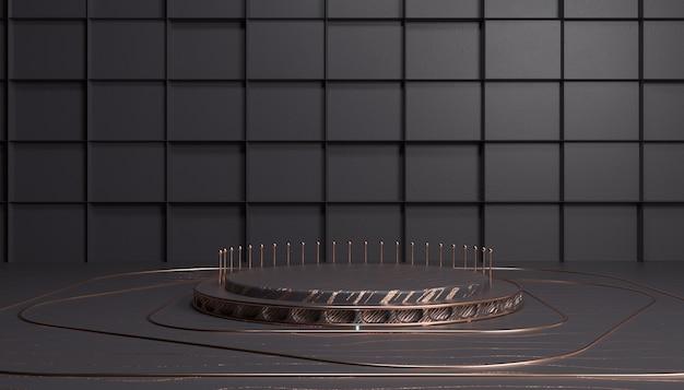 3d-rendering der abstrakten geometrischen plattform für mit runder podium-produktanzeige