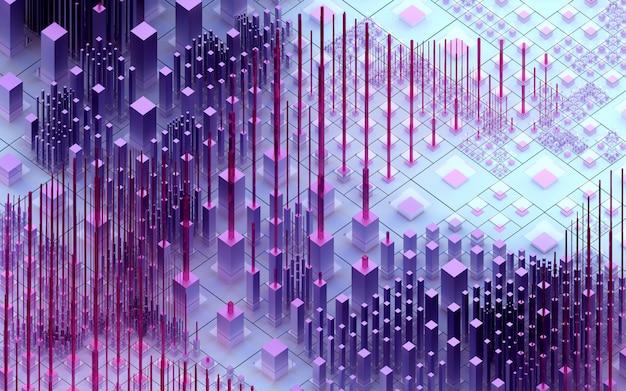 3d-rendering der abstrakten kunst 3d hintergrund der surrealen nano-silicon valley-hügel basierend auf kleinen großen dünnen und erzählten würfelboxen säulen