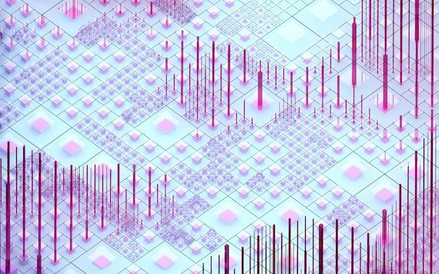3d-rendering der abstrakten kunst 3d hintergrund der surrealen nano-silizium-tal-hügel basierend auf kleinen großen dünnen und erzählten würfelboxen säulen und balken in rosa lila blauer farbe in isometrischer ansicht