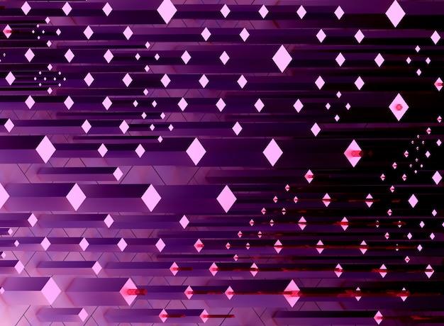 3d-rendering der abstrakten kunst des surrealen 3d-hintergrunds basierend auf kleinen großen und erzählten kästchen oder würfeln in lila farbe, transistorenfeld