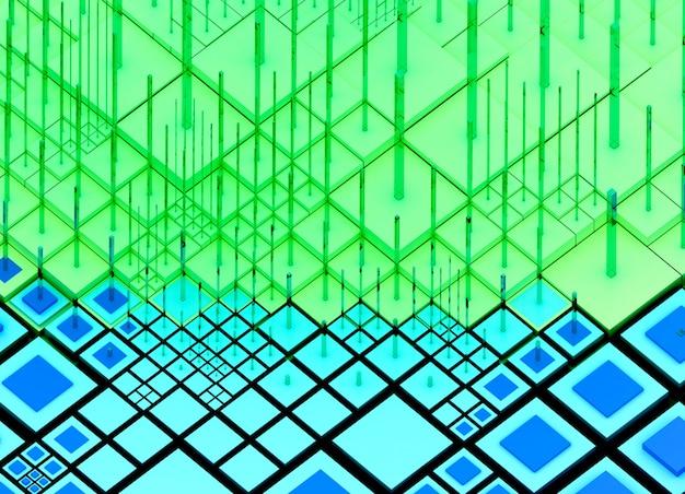 3d-rendering der abstrakten kunst-nanotechnologie oder des surrealen 3d-hintergrunds mit großen datenmengen mit kleinen großen und erzählten würfelboxen oder -balken in grüner und blauer farbe oder feld mit computermikrochips und -transistoren