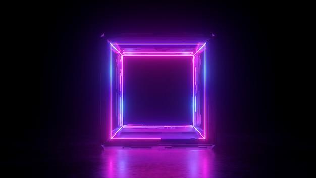 3d-rendering der abstrakten quadratischen neonformbox