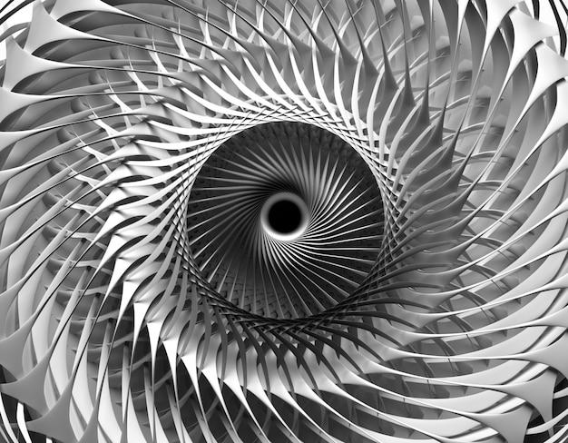 3d-rendering der abstrakten schwarzweiss-kunst des 3d-hintergrunds mit einem teil des surrealen mechanischen industriellen turbinenstrahltriebwerks