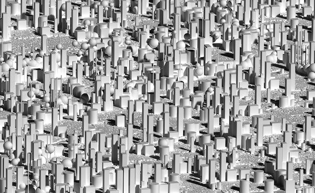 3d-rendering der abstrakten schwarzweiß-schwarzweißkunst mit einem teil der auf stadtstadt basierenden kisten und kugeln