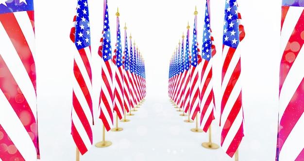 3d-rendering der amerikanischen flagge für memorial day, 4. juli, independence day.