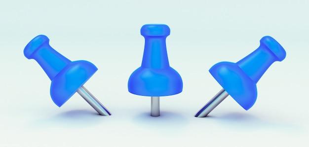 3d-rendering der blauen reißzwecke