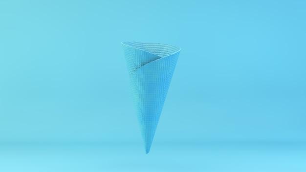 3d-rendering der blauen waffereiscreme