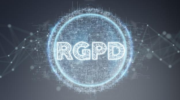 3d-rendering der digital gdpr-schnittstelle