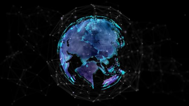3d-rendering der digitalen erde, die sich dreht, globale netzwerkverbindung, abstrakter hintergrund für die highspeed-internetverbindung der technologie.