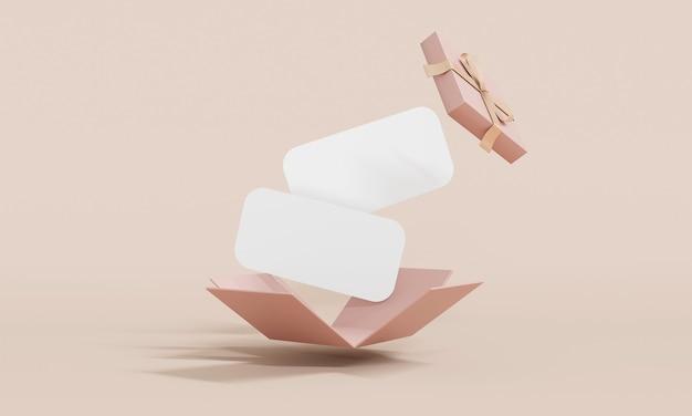 3d-rendering der explosion der geschenkbox zeigt leere papiergutscheine im hintergrund für kommerzielles design