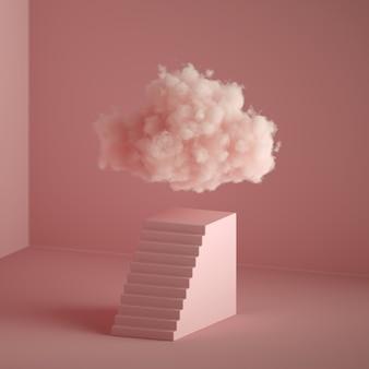 3d-rendering der flauschigen wolke, die über dem sockel mit treppen, kubischem sockel, minimalem rauminnenraum schwebt. objekte isoliert auf pastellrosa hintergrund, modernes minimales modekonzept, abstrakte metapher